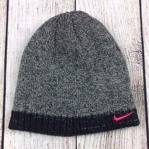 Girls Winter Beanie Hat Size 4-6X Black Silver